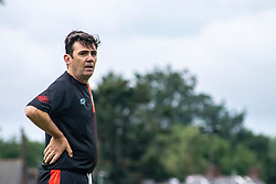 © Licensed to London News Pictures. 30/07/2021. Manchester, UK.  Mayor of Greater Manchester Andy Burnham takes part in a football match between Greater Manchester Fire and Rescue vs Grenfell Athletic in Manchester. The match forms part of a tour in which Grenfell will also take on Fire Services in Newcastle, Liverpool and London, with donations raised at the matches going towards the future of Grenfell Athletic. Photo credit: Ryan Jenkinson/LNP