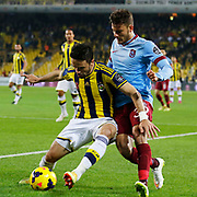 Fenerbahce's Gokhan Gonul (L) and Trabzonspor's Salih Dursun (R) during their Turkish superleague soccer derby Fenerbahce between Trabzonspor at the Sukru Saracaoglu stadium in Istanbul Turkey on Saturday 07 February 2015. Photo by Aykut AKICI/TURKPIX