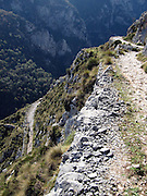 Hiking down from the village of Tresviso, in the Picos de Europa national park, a hamlet famous for its goat's cheese. This is a view of a couple of switchbacks on the trail - not for those afraid of heights!