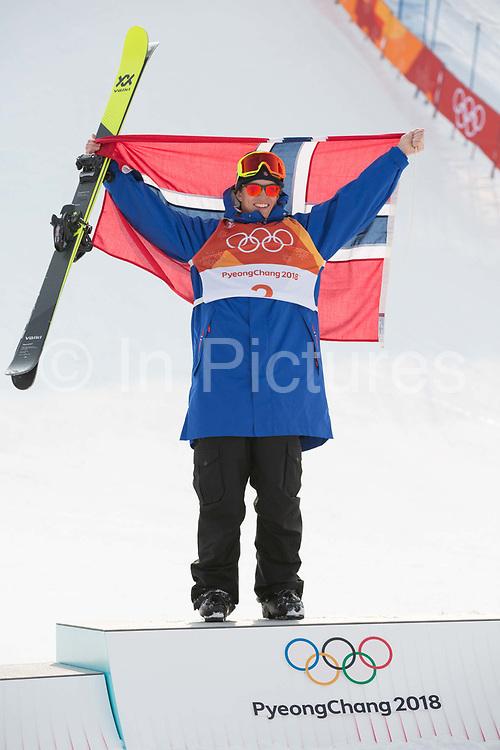 Oystein Braaten, Norway, GOLD, at thePyeongchang 2018 Winter Olympics men's freestyle ski slopestyle flower ceremony on February 18th 2017, at the Phoenix Snow Park inPyeongchang-gun, South Korea.