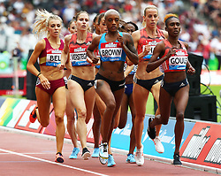July 22, 2018 - London, United Kingdom - L-R Sanne Verstegen-Wolters of Netherlands, Ce'Aira Brown of USA, Lynsey Sharp of Great Britain and Natoya Goule of Jamaica Compete in the 800m Women during the Muller Anniversary Games IAAF Diamond League Day Two at The London Stadium on July 22, 2018 in London, England. (Credit Image: © Action Foto Sport/NurPhoto via ZUMA Press)