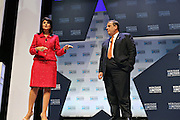 Republican presidential candidate Gov. Chris Christie listens to a question from SC Gov. Nikki Haley at the Heritage Foundation Take Back America candidate forum September 18, 2015 in Greenville, South Carolina.