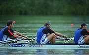 Lucerne, SWITZERLAND, GBR M4- left, Bow James CRACKNELL 2. Steve REGRAVE, 3. Tim FOSTER.    2000 FISA World Cup, Rotsee Rowing Course, June 2000.  [Mandatory Credit, Peter Spurrier/Intersport-images] 2000 FISA World Cup, Lucerne, SWITZERLAND