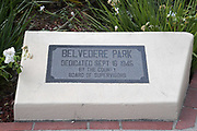 A Belvedere Park dedication plaque at the Dodger Day Drive-Thru, Tuesday, June 30, 2020, in Los Angeles. The event was hosted by The Los Angeles Dodgers Foundation, which distributed food boxes, books, sports equipment, clothing, toys and hygiene supplies to more than 1,000 registered youth from the Boyle Heights, East Los Angeles, La Puente and Monterey Park communities.