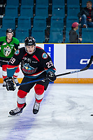 KAMLOOPS, CANADA - NOVEMBER 5: Nolan Foote #29 of Team WHL (Kelowna Rockets) warms up against the Team Russia  on November 5, 2018 at Sandman Centre in Kamloops, British Columbia, Canada.  (Photo by Marissa Baecker/Shoot the Breeze)