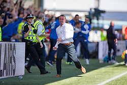 Kilmarnock's manager Lee Clark cele their first goal. Kilmarnock 4 v 0 Falkirk, second leg of the Scottish Premiership play-off final.