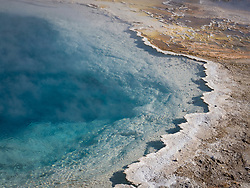 North America, United States, Wyoming, Yellowstone National Park, blue hot spring and steam in winter
