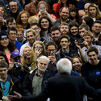 YOUNGSTOWN, OH - March 14, 2016.  Bernie Sanders supporters laugh during the Democratic hopeful's speech during a rally at the Covelli Center in Youngstown, OH, March 14, 2016.  Five states go to the polls tomorrow, including the winner take all Ohio, with 143 delegates for the Democrats, and 66 delegates for the Republicans.  CREDIT: Mark Makela for The New York Times