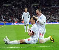 England/Ukraine 2010 FIFA World Cup Qualifier 01.04.09<br /> Photo Tim Parker Fotosports International<br /> John Terry England celebrates 2nd goal with team mates