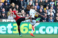 Matteo Darmian of Manchester Utd (l) challenges Wayne Routledge of Swansea city. Premier league match, Swansea city v Manchester Utd at the Liberty Stadium in Swansea, South Wales on Sunday 6th November 2016.<br /> pic by  Andrew Orchard, Andrew Orchard sports photography.
