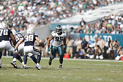 Philadelphia Eagles inside linebacker Mychal Kendricks #95 pushes off of the line of scrimmage during the NFL game between the San Diego Chargers and the Philadelphia Eagles in Philadelphia. The Chargers won 33-30. (Photo by Brian Garfinkel)
