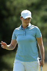 June 17, 2018 - Belmont, Michigan, United States - Caroline Masson of Germany acknowledges the crowd after her birdie on the second green during the final round of the Meijer LPGA Classic golf tournament at Blythefield Country Club in Belmont, MI, USA  Sunday, June 17, 2018. (Credit Image: © Jorge Lemus/NurPhoto via ZUMA Press)
