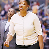 03 August 2014: Connecticut Sun assistant coach Jennifer Gillom is seen during the Los Angeles Sparks 70-69 victory over the Connecticut Sun, at the Staples Center, Los Angeles, California, USA.