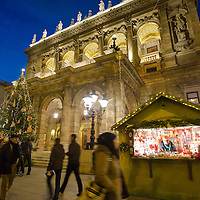 Christmas lights decorate the Hungarian State Opera House in central Budapest, Hungary on December 11, 2014. ATTILA VOLGYI