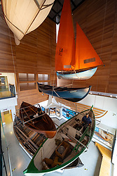 Display of typical local boats in Shetland Museum in Lerwick, Shetland , Scotland, UK