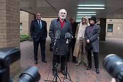 Former Radio 1 DJ Dave Lee Travis talks with members of the press after being charged with a further offence of indecent assault. Southwark Crown Court, London, United Kingdom. Friday, 28th March 2014. Picture by Daniel Leal-Olivas / i-Images