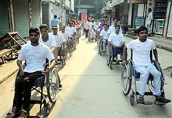 September 5, 2017 - Dhaka, Bangladesh - CRP patients at savar participating in a rally marking the International Spinal Cord Injury Day 2017 in Dhaka, Bangladesh, on 5 September 2017. (Credit Image: © Sony Ramany/NurPhoto via ZUMA Press)