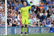 Goalkeeper Kasper Schmeichel of Leicester City looks on. Barclays Premier league match, Chelsea v Leicester city at Stamford Bridge in London on Sunday 15th May 2016.<br /> pic by John Patrick Fletcher, Andrew Orchard sports photography.