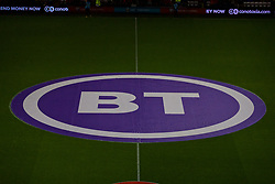 CARDIFF, WALES - Sunday, October 13, 2019: A large BT advertising banner in the centre circle before the UEFA Euro 2020 Qualifying Group E match between Wales and Croatia at the Cardiff City Stadium. (Pic by Paul Greenwood/Propaganda)