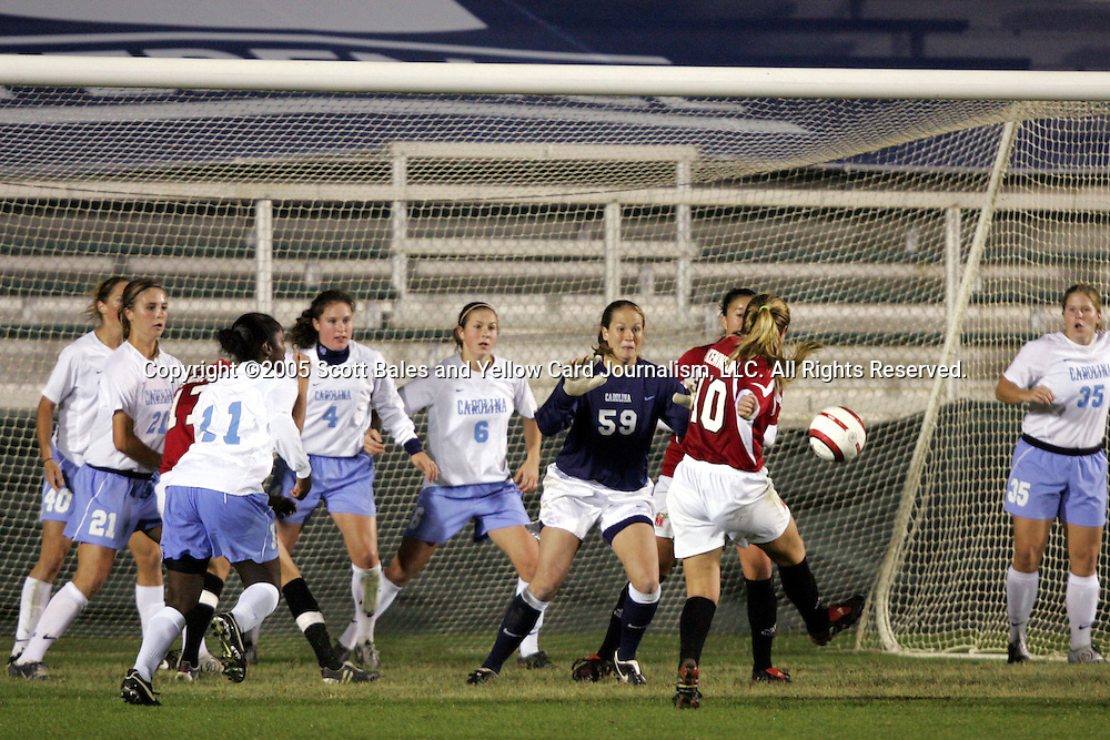 2 November 2005: Maryland's Ashly Kennedy (10) puts a loose ball in the box past North Carolina goalkeeper Aly Winget (59) to make the score 3-1. The University of North Carolina defeated the University of Maryland 3-1 at SAS Stadium in Cary, North Carolina in the quarterfinals of the 2005 ACC Women's Soccer Championship.