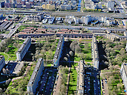 Nederland, Noord-Holland, Amsterdam;  03-23-2020; Amsterdam-Zuidoost, Bijlmer-centrum, H-buurt. Hoogoorddreef.<br /> <br /> luchtfoto (toeslag op standard tarieven);<br /> aerial photo (additional fee required)<br /> copyright © 2020 foto/photo Siebe Swart
