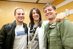 Assistant coach Joze Percic, Player Andrea Lekic and coach Jure Sterbucl during press conference of handball team RK Krim Mercator before new season 2010-2011, on September 29, 2010 in M-Hotel, Ljubljana, Slovenia. (Photo By Vid Ponikvar / Sportida.com)