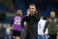 Sheffield Wednesday Manager Carlos Carvalhal applauds the Sheffield Wed fans at the end of the game. EFL Skybet championship match, Cardiff city v Sheffield Wednesday at the Cardiff city stadium in Cardiff, South Wales on Wednesday 19th October 2016.<br /> pic by Andrew Orchard, Andrew Orchard sports photography.