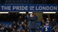 Football - 2019 / 2020 Premier League - Chelsea vs. Burnley<br /> <br /> Frank Lampard,  Manager of Chelsea FC,  applauds the fans whilst under The Pride of London sign at Stamford Bridge <br /> <br /> COLORSPORT/DANIEL BEARHAM