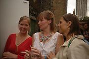 Flora Fairbairn, Rose Russell and Minna Fry. Rachel Kneebone private view. Madder Rose. Whitecross St. London EC1 22 June 2006. -DO NOT ARCHIVE-© Copyright Photograph by Dafydd Jones 66 Stockwell Park Rd. London SW9 0DA Tel 020 7733 0108 www.dafjones.com