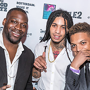 NLD/Rotterdam/20161102 - MTV Music Week Official Opening Party 2016, Rotterdamse rappers Airline met Ronnie Flex