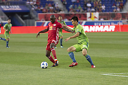June 13, 2018 - Harrison, New Jersey, United States - Bradley Wright-Phillips (99) of Red Bulls controls ball during regular MLS game against Seattle Sounders at Red Bull Arena Red Bulls won 2 -1 (Credit Image: © Lev Radin/Pacific Press via ZUMA Wire)