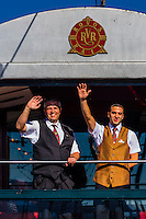 """Staff members aboard the Rovos Rail train  """"Pride of Africa"""" on it's journey between Pretoria and Cape Town, South Africa."""