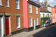 Attractive eighteenth and nineteenth century terraced houses and Mariners pub, New Street, Woodbridge, Suffolk