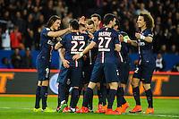 Joie Edinson CAVANI / groupe PSG - 28.04.2015 - Paris Saint Germain / Metz - Match en retard - 32eme journee Ligue 1<br />Photo : Nolwenn Le Gouic / Icon Sport