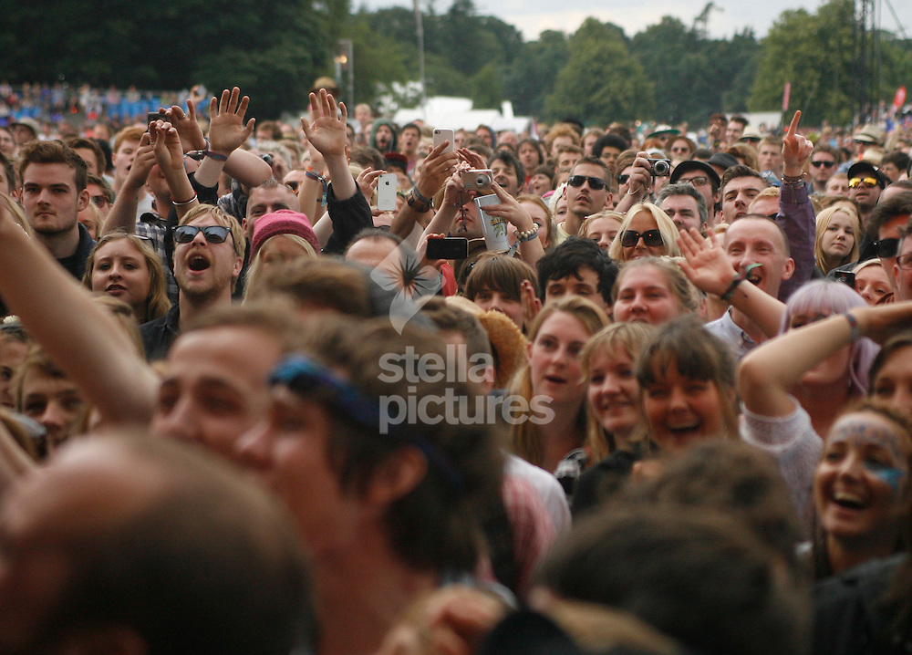 Picture by Daniel Chesterton/Stella Pictures. .15/07/12.The crowd enjoying Edward Sharpe and the Magnetic Zero's at Latitude, a music and arts festival in Suffolk.