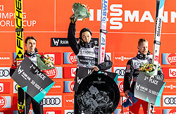 17.03.2019, Vikersundbakken, Vikersund, NOR, FIS Weltcup Skisprung, Raw Air, Vikersund, Siegerehrung, Raw Air Gesamtwertung, Herren, im Bild 2. Platz Stefan Kraft (AUT), Sieger Ryoyu Kobayashi (JPN) (SLO), 3. Platz Robert Johansson (NOR) // 2nd place Stefan Kraft of Austria Winner Domen Ryoyu Kobayashi of Japan 3rd place Robert Johansson of Norway during the men's allover winner Ceremony for the 4th Stage of the Raw Air Series of FIS Ski Jumping World Cup at the Vikersundbakken in Vikersund, Norway on 2019/03/17. EXPA Pictures © 2019, PhotoCredit: EXPA/ JFK