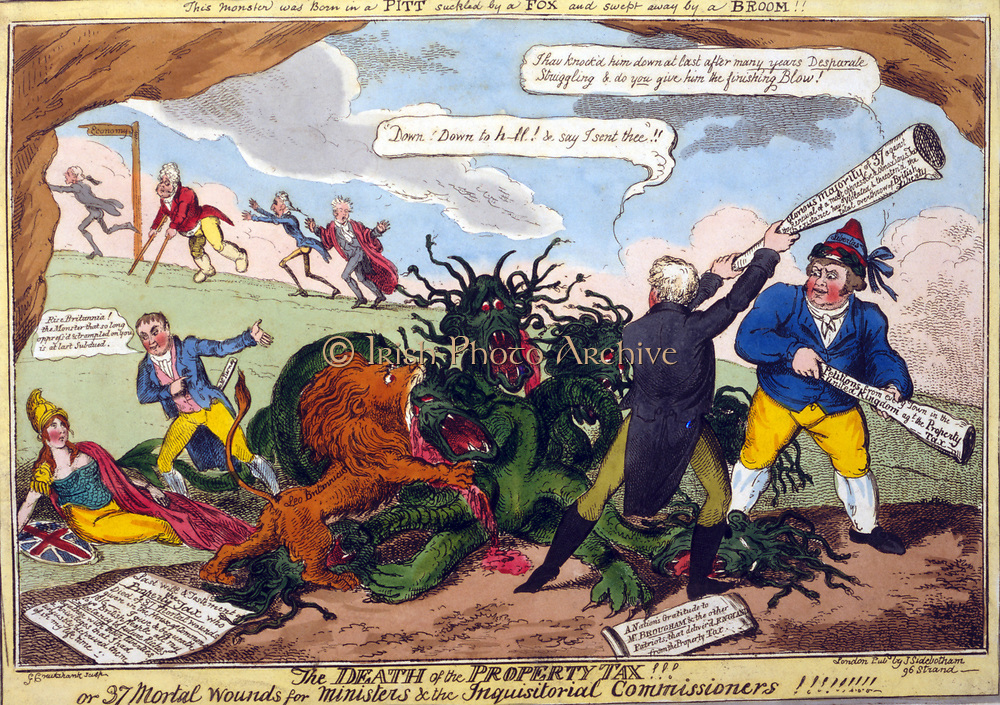 The Death of the Property Tax!!', George Cruikshank, 1816. Henry Brougham, John Bull, and British Lion attack hydra of Property Tax. George Tierney tells Britannia to rise. In background Prince Regent and his ministers on the run.