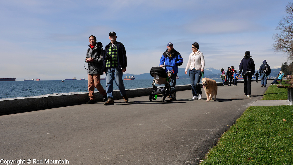 People strolling along the path at English Bay, Vancouver, B.C