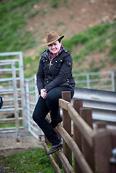 The Scottish Conservative leader Ruth Davidson rides a buffalo.
