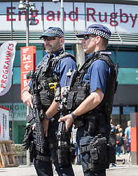 © Licensed to London News Pictures. 27/05/2017. London, UK. Armed patrol outside Twickenham stadium ahead of the Aviva Premiership Rugby Final. Security has been increased at venues across the UK, with the military called in to help police, following a terrorist attack at a music concert in Manchester on Monday evening. Photo credit: Peter Macdiarmid/LNP
