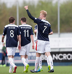 Falkirk's Mark Beck celebrates after scoring their third goal.<br /> Falkirk 3 v 1 Alloa Athletic, Scottish Championship game played today at The Falkirk Stadium.<br /> © Michael Schofield.