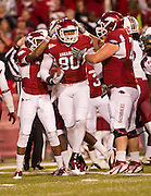 Nov 5, 2011; Fayetteville, AR, USA;  Arkansas Razorback tight end Chris Gragg (80) reacts to a play with wide receiver Jarius Wright (4) and offensive guard Gran Cook (72) the first half of a game against the South Carolina gamecocks at Donald W. Reynolds Stadium.  Mandatory Credit: Beth Hall-US PRESSWIRE
