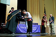 SHOT 5/10/15 3:11:23 PM - Naropa University Spring 2015 Commencement ceremonies at Macky Auditorium in Boulder, Co. Sunday. Parker J. Palmer, a world-renowned author and activist known for his work in education and social change, delivered the commencement speech to more than 300 graduate and undergraduate students along with Naropa faculty and graduate's family members. Naropa University is a private liberal arts college in Boulder, Colorado founded in 1974 by Tibetan Buddhist teacher and Oxford University scholar Chögyam Trungpa. (Photo by Marc Piscotty / © 2014)