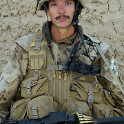 Canadian Cpl. John Suchan of 3 PPCLI at a Canadian Police Sub Station after a patrol in the Pashmul area of Zhari District, Kandahar Province, Afghanistan.