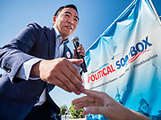 09 AUGUST 2019 - DES MOINES, IOWA: ANDREW YANG greets people before his speech at the Iowa State Fair. Yang, an entrepreneur, is running for the Democratic nomination for the US Presidency in 2020. He spoke at the Des Moines Register Political Soapbox at the Iowa State Fair Friday. Iowa hosts the the first election event of the presidential election cycle. The Iowa Caucuses will be on Feb. 3, 2020.        PHOTO BY JACK KURTZ