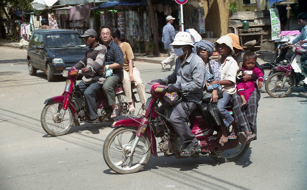 Motorbike taxis in Phnom Penh, Cambodia.