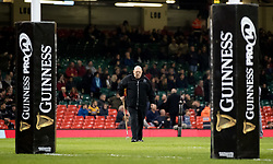 A general view of Principality Stadium a member of ground staff makes repairs at half time<br /> <br /> Photographer Simon King/Replay Images<br /> <br /> Guinness PRO14 Round 21 - Cardiff Blues v Ospreys - Saturday 28th April 2018 - Principality Stadium - Cardiff<br /> <br /> World Copyright © Replay Images . All rights reserved. info@replayimages.co.uk - http://replayimages.co.uk
