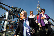 London, UK. Monday 8th September 2014. London Mayor Boris Johnson arrivies with Cllr. Denise Hyland (in purple) during a visit to Royal Greenwich Tall Ships Festival which is organized by RB Greenwich. The Festival is included as a highlight of Totally Thames, the new month-long promotion of river and riverside events delivered by Thames Festival Trust.