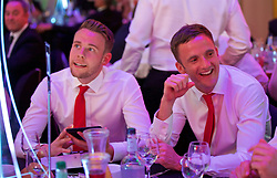 CARDIFF, WALES - Wednesday, June 1, 2016: Wales' Chris Gunter and Andy King during a charity send-off gala dinner at the Vale Resort Hotel ahead of the UEFA Euro 2016. (Pic by David Rawcliffe/Propaganda)