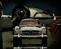 It's night, a Mercedes 300 SL Gullwings has just arrived and has opened its driver's door. A young woman seems to be waiting for the driver while a man is waiting a little further on. An airplane is ready to go. What is happening here seems to be a mystery, but what is certain is that they are going somewhere. -<br /> BUY THIS PRINT AT<br /> <br /> FINE ART AMERICA<br /> ENGLISH<br /> https://janke.pixels.com/featured/going-somewhere-jan-keteleer.html<br /> <br /> WADM / OH MY PRINTS<br /> DUTCH / FRENCH / GERMAN<br /> https://www.werkaandemuur.nl/nl/shopwerk/Mercedes-300SL-gaat-ergens-heen-/528859/132